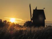 Solnedgång över väderkvarn